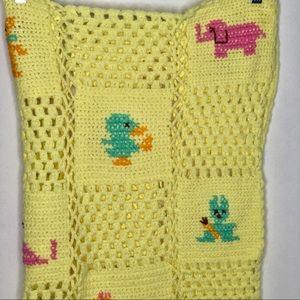 Vintage Animal Baby Blanket Crochet Knit